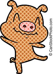 cartoon drunk pig