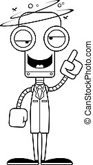 Cartoon Drunk Scientist Robot