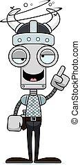 Cartoon Drunk Viking Robot