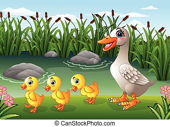Cartoon duck family
