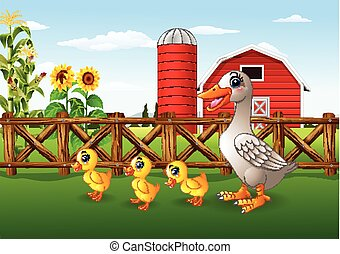 Cartoon duck family in the farm