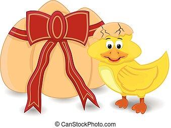 cartoon duck hatching