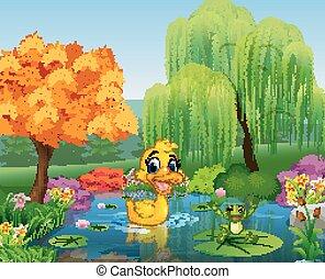 Cartoon duck with happy frog