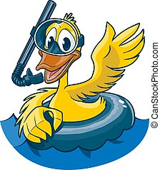Vector cartoon clip art illustration of a cute smiling and waving yellow duck wearing a diving mask, snorkel, and inner tube, floating in water. Water and Duck in separate layers.
