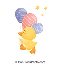 Cartoon duckling with balloons. Vector illustration on a white background.