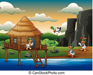 Cartoon ducks flies to a hut on the river