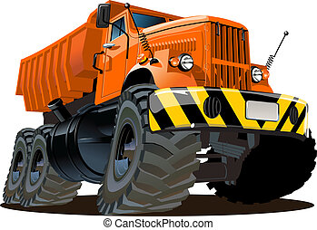 Cartoon dump truck isolated on white background. Available...