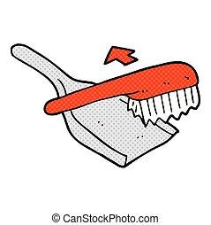 cartoon dust pan and brush - freehand drawn cartoon dust pan...
