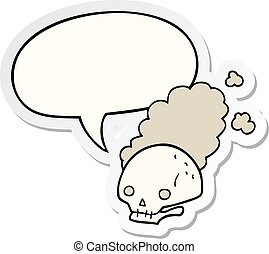 cartoon dusty old skull and speech bubble sticker - cartoon...