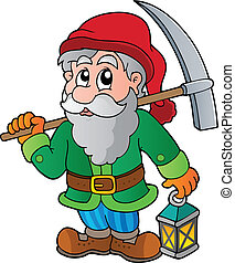 Cartoon dwarf miner - vector illustration.