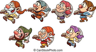Cartoon dwarves - Seven cartoon dwarves. Vector clip art...