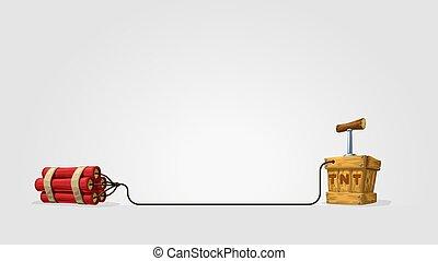 cartoon dynamite with wood box