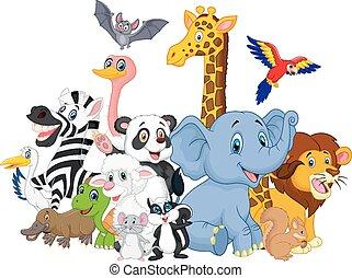 cartoon, dyr, baggrund, vild