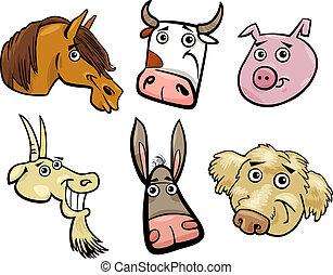cartoon, dyr farm, hoveder, sæt