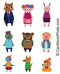 cartoon, dyr ikoner