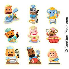 cartoon, dyr, køkkenchef, iconerne, samling