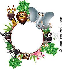 cartoon, dyr, samling, cute