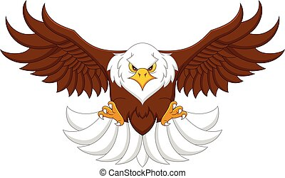 cartoon eagle flying on a white background