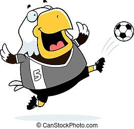Cartoon Eagle Soccer Kick