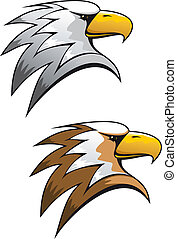 Cartoon eagle symbol isolated on white for tattoo or another...