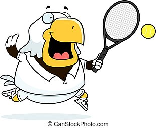 Cartoon Eagle Tennis