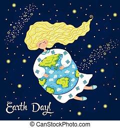 Cartoon Earth Day postcard. Vector illustration.