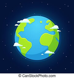 Cartoon Earth from space