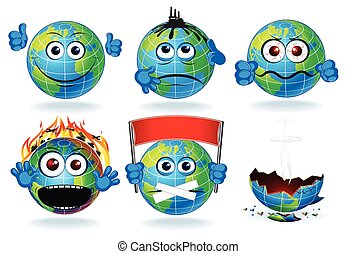 Cartoon Earth Planet Icon Smiling Sad Characters