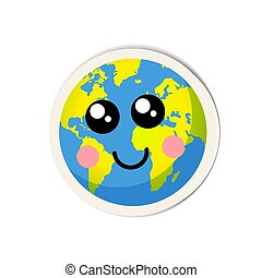 Cartoon earth planet icon with cute face on white