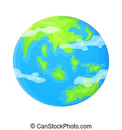 Cartoon Earth planet. Stock vector illustration in flat style isolated on white background.