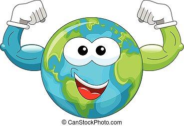 Cartoon Earth showing biceps