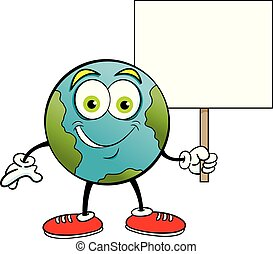 Cartoon earth smiling while holding a sign.