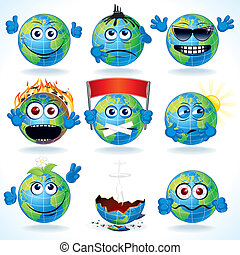 Cartoon Earth - Set of Funny Cartoon Planet Earth with...