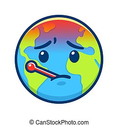 Cartoon Earth with thermometer, global warming