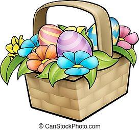Cartoon Easter Basket Eggs