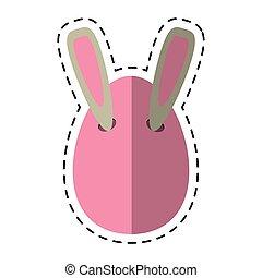 cartoon easter bunny ears in egg