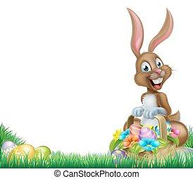 Cartoon Easter Bunny Egg Basket