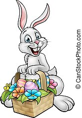 Cartoon Easter Bunny Egg Hunt