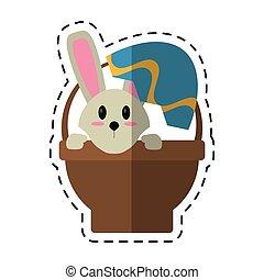 cartoon easter bunny in basket present