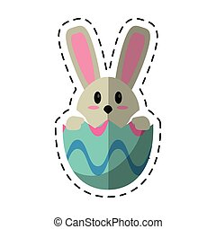 cartoon easter bunny in egg surprise