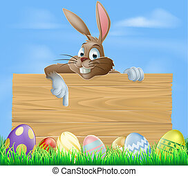 Cartoon Easter bunny pointing at blank wooden sign with...
