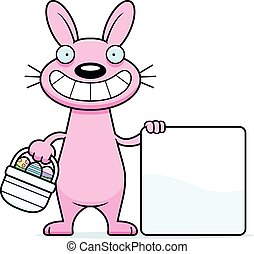 Cartoon Easter Bunny Sign