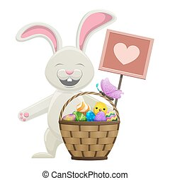 Cartoon Easter Bunny with Basket Illustration