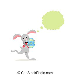 Cartoon Easter bunny with egg and speech bubble. Happy Easter background