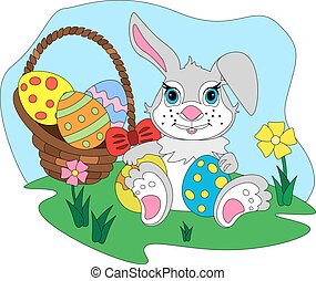 Cartoon Easter bunny with egg basket.