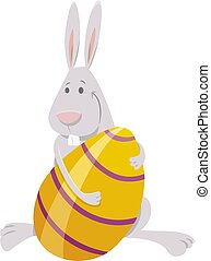 cartoon Easter bunny with large colored egg