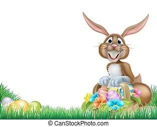 Cartoon Easter Egg Hunt Rabbit