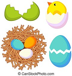Cartoon easter icon set chicken nest egg shell.