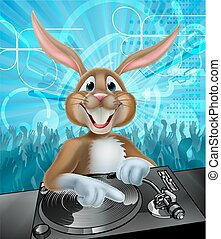 Cartoon Easter Party Bunny DJ