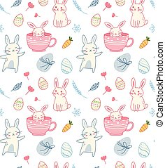 Cartoon easter seamless background with egg and rabbit